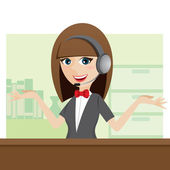 Cartoon cute call center using headphone — Vector de stock