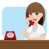 Cartoon smart girl using telephone — Stockvektor