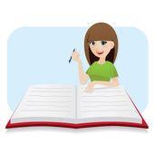 Slim meisje cartoon grote dagboek schrijven — Stockvector