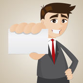 Cartoon businessman showing blank name card — Stock Vector