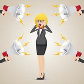 Cartoon businesswoman with noisy megaphone — Stock Vector