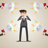 Cartoon businessman with noisy megaphone — Stock Vector