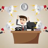 Cartoon working businessman with noisy megaphone — Stock Vector