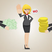 Cartoon businesswoman refuse money from another person — Stock Vector
