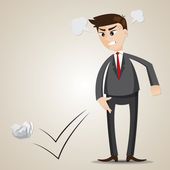 Cartoon angry businessman throwing crumple paper — Stock Vector