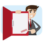 Cartoon businessman showing approved document in folder — Stock Vector