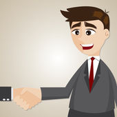 Cartoon businessman shake hand with another man — Stock Vector