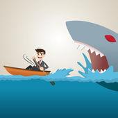 Cartoon businessman paddling escape from shark — Stock Vector