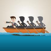 Cartoon business team rowing on sea — Stock Vector