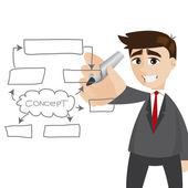 Cartoon businessman writing business plan — Stock Vector