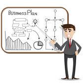 Cartoon businessman presentation with business plan — Stock Vector