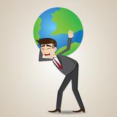 Cartoon businessman carrying globe on shoulder — Stock Vector