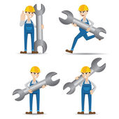 Cartoon set of technician with wrench — Stock Vector