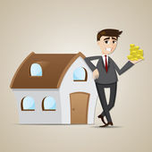 Cartoon businessman with house and money — Stock Vector