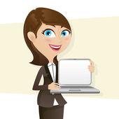 Cartoon smart girl showing laptop blank screen — Stock Vector