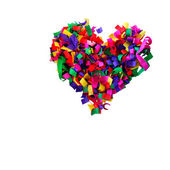 Heart of multicolored confetti isolated on white background — Stock Photo