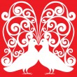 White kissing doves pair pattern with heart symbol — Stok Vektör #37734227