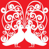 White kissing doves pair pattern with a heart symbol — Stock Vector