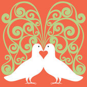 Doves white in love with red heart and symbolic tree — Stock Vector