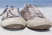 Old sneakers close up outdoor — Foto de Stock