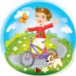 Boy on bike — Stock Vector