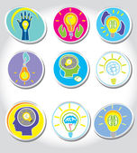 Light bulb idea and Management Icons set — Stock Vector
