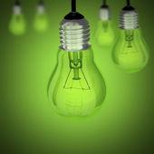 Spento la lampadina su sfondo verde — Foto Stock