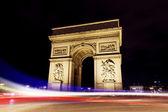 Paris Arc De Triomphe at night France Flag — Stock Photo