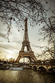 Paris Eiffel Tower at sunset — Stock Photo