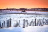 Sunset in a snowy land — Stock Photo