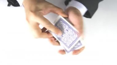 Man shuffling cards — Stock Video
