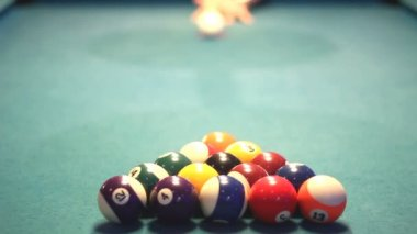 Start first hit of billiard balls, pool game — Stock Video