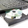CLoseup CDROM Tray and diskette on Laptop  — Stock Photo