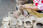 Thailand craftsman working on pottery clay and crafts — Stock Photo