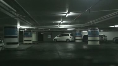 Driving on underground parking — Stock Video