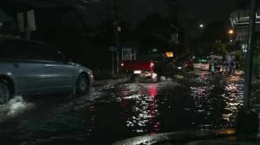 Driving In Flooded Road Tropical Storm at night — Stock video