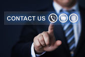 Empresario presionar virtual el botón — Foto de Stock