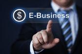 Businessman pressing virtual button — Stock Photo