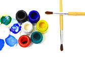 Bottles of poster paints — Stock Photo