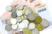 Monete e carta moneta di thailandia — Foto Stock