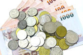 Thailand paper currency and coins — Stock Photo