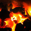 Stock Photo: Burning wood in hot stove