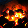 Burning wood in hot stove — Stock Photo