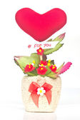 Gift baskets flowers Heart shaped — Stock Photo