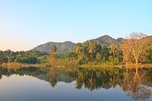 Vackra berg och flod i morgon — Stockfoto