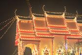 Night in the temple fair,Thailand — Stock Photo