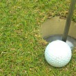 Foto Stock: Golf ball on grass