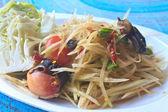 Green papaya salad Thai cuisine spicy delicious — Stock Photo