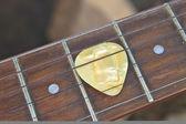 Gitarren pick am griffbrett — Stockfoto