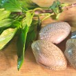 Stock Photo: Surf clam on wooden for cooking